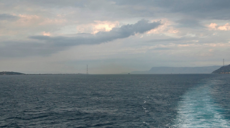 Messina Strait, 12 September 2007 3 - 1834   Looking towards the northern exit, marked by the two pylons, with the Calabrian coast in the right distance.