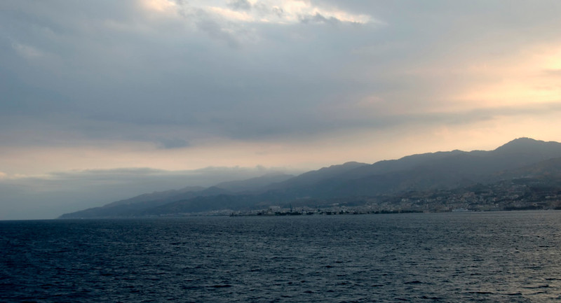 Messina Strait, 12 September 2007 2 - 1830    Looking southwest towards Messina (right) and Sicily.