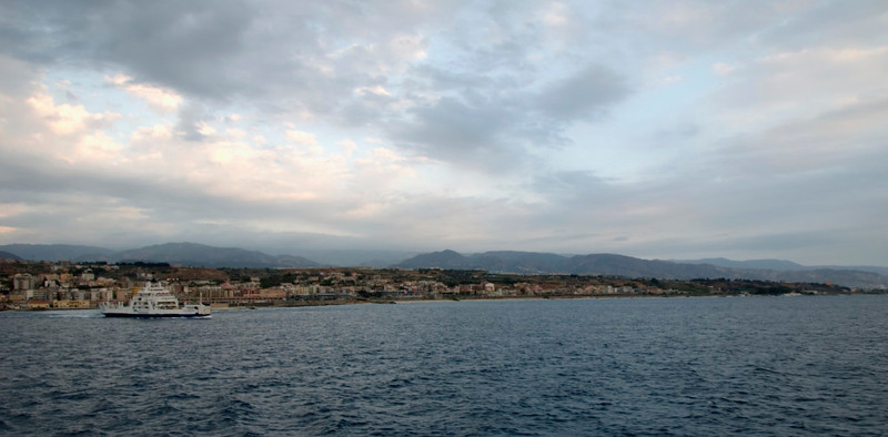 Messina Strait, 12 September 2007 1 - 1827    Looking southeast along the Italian shore.   Fata Morgana is at left.