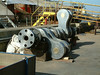 8-ton main engine crankshaft, after machining, on quayside awaiting re-installation (protective coating applied)
