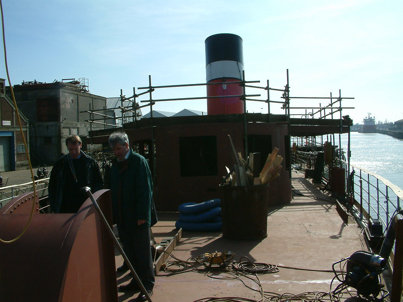 Looking aft from bow with new forward deck shelter before refitting of wheelhouse and bridge on top