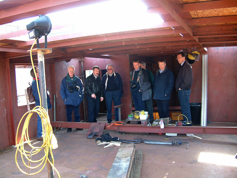 Inside the new forward deck shelter during reconstruction looking aft - Project Manager Gordon Reid describes aspects of the rebuild to directors of Waverley Steam Navigation and PSPS Scottish Branch members