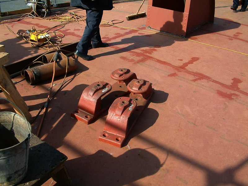 Mooring rope fairleads ready for fitting on fo'c'sle deck