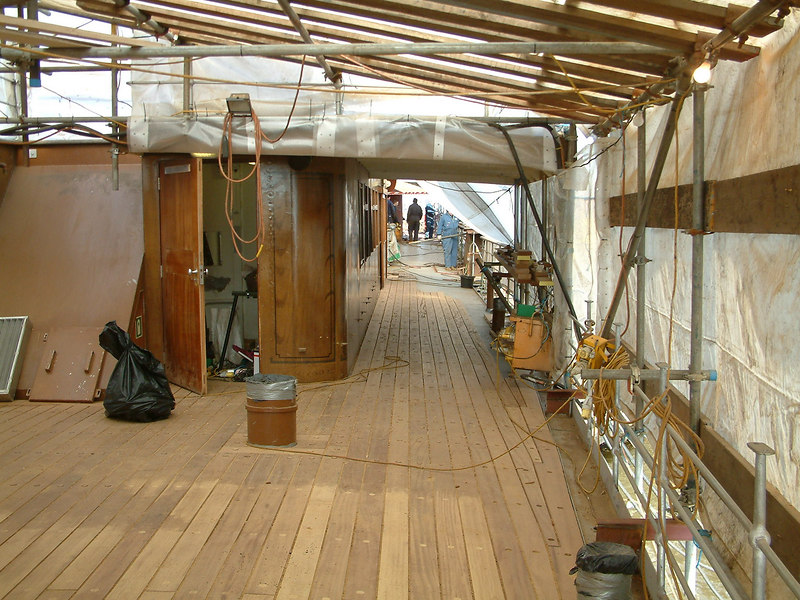 New deck timbers on aft promenade deck