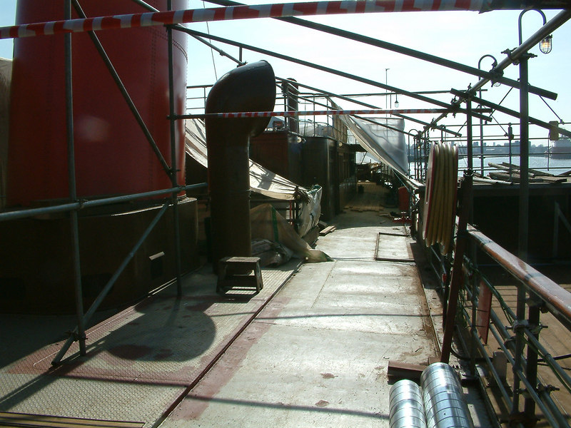 View aft on promenade deck before laying of new decking