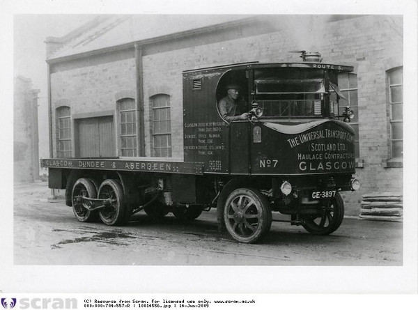 "In 1915 a young Glasgow draughtsman, Arthur Thomson, joined Alley & MacLellan working on the development of a new 'Super Sentinel' wagon. In the following years Stephen Alley (son of the co-founder) was increasingly at odds with his fellow board members over the long term effects of the company's large contribution to the War effort. In 1918 he sold his share in Alley & McLellan and moved the production of the steam wagon to a new factory in Shrewsbury. Arthur Thomson also made the move south and became the chief designer, responsible for developing the 'Super Sentinel' wagon, a typical example of which is shown above. The new outfit at Shrewsbury was initially named the 'Sentinel Steam Waggon Co (with two 'g' in Waggon). The name was changed slightly on a number of occasions and it became part of Rolls Royce in 1971. Its product range developed significantly over the years. See<br />  <a href=""http://en.wikipedia.org/wiki/Sentinel_Waggon_Works"">http://en.wikipedia.org/wiki/Sentinel_Waggon_Works</a><br /> <br /> ©Scottish Motor Museum Trust. Licensor  <a href=""http://www.scran.ac.uk"">http://www.scran.ac.uk</a>.<br /> <br /> Go to the following website to read the fascinating story of the Sentinel Steam Waggon No 5676, built in 1924 and now owned by Ken Henderson. It is now based at the Summerlee Industrial Heritage Museum. <br />  <a href=""http://www.sentinelsteamwaggon.org.uk/index.html"">http://www.sentinelsteamwaggon.org.uk/index.html</a>"