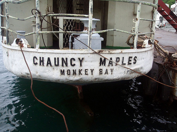The stern of MV Chauncy Maples, bumped and battered, but still proudly proclaiming the home port - She has come a long way from Polmadie to Monkey Bay