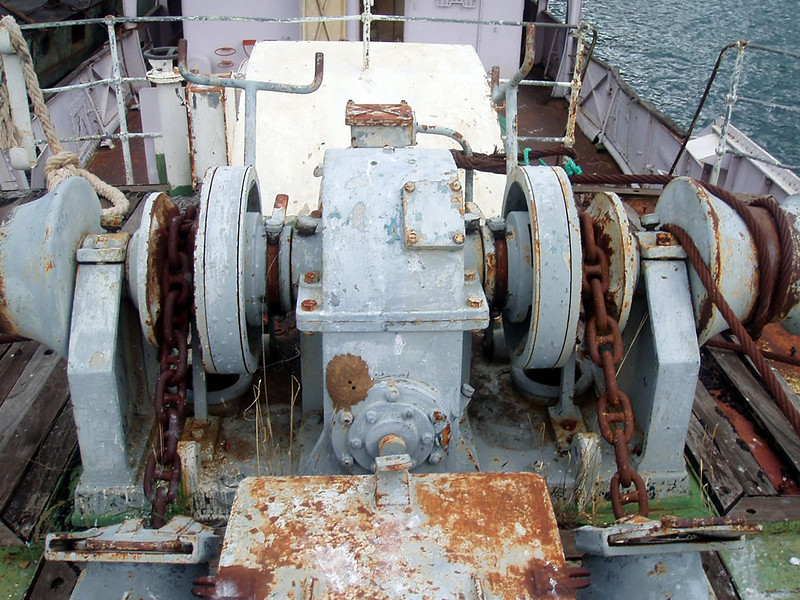 "Picture from the Chauncy Maples Malawi Trust's Flickr website (link below)<br /> <br /> The windlass at  the bow of the Chauncy Maples was used for raising the anchor and making fast her mooring lines. It is one of the original bits of equipment supplied with the ship in 1899. <br /> <br /> The windlass was built by Thomas Reid & Son (Paisley) Ltd, one of many companies founded in the 19th C to supply deck equipment for ships built on the Clyde and elsewhere.<br /> <br /> Sadly, after trading on Clydeside for well over a century the firm of Thomas Reid & Co (Paisley) Ltd went into receivership in late 2008. The Thomas Reid builder's plate on Chauncy Maples windlass can be seen here:<br />  <a href=""http://www.flickr.com/photos/chauncymaples/3272132899/sizes/o/"">http://www.flickr.com/photos/chauncymaples/3272132899/sizes/o/</a>"