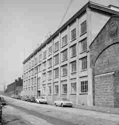 """In the very early years of the 20th Century the Sentinel Works made a gradual transfer to a newer and bigger site just round the corner at 61 - 89 Jessie Street. This imposing building accommodated pattern shop and stores of Alley & MacLellan. It is interesting to note that the company's engineer responsible for the new building was the renowned Archibald Leitch, best known for designing many famous football stadiums around the UK. It was the first steel reinforced concrete building to be built in Scotland and, much later in life, it was 'A listed' - indicating a building of highest architectural / technical importance. After the demise of Alley & MacLellan it was taken over by the engineering company Davy United, a Sheffield based firm,specialising in steel making equipment. This picture shows the building when operated by Davy United.<br /> <br /> ©Royal Commission on the Ancient and Historical Monuments of Scotland; SC768161. Licensor  <a href=""""http://www.scran.ac.uk"""">http://www.scran.ac.uk</a>. <br /> Other pictures of the Sentinel Works can be seen at the SCRAN website"""