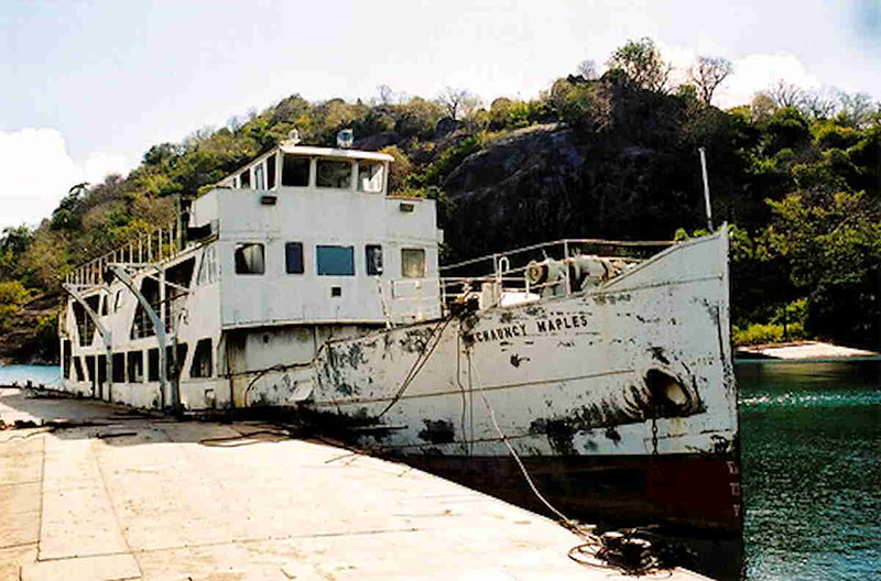 This public domain picture shows how the appearance of the Chauncy Maples was alterred following her acquisition by Malawi Railways. Her steam engine was replaced by a Crossley diesel about the same time. For some years prior to 2009 the vessel was moored at Monkey Bay serving as a floating bar. <br /> <br /> Although she looks a bit worse for the ware surveys showed that all of the important structure of the ship is in remarkably good condition