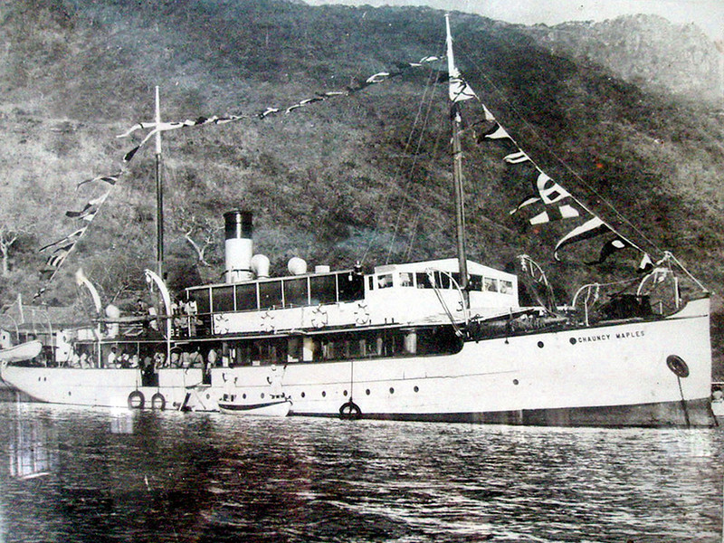 A later view of the SS Chauncy Maples, dressed overall in celebration of her Golden Jubilee. As can be seen she had changed slightly in her first half century. However, the standard of the ships original steel work was in remarably good condition in 1952 and, substantially it still is in 2009.  Undoubtedly, her superb quailty is partly due to the decision to galvanise all of the structural parts before they left Glasgow - a very unusual occurance. It was reflected in the price of the new vessel. Her owners, The Universities Mission to Central Africa, had to pay a total of £16000 for the new ship compared to a cost of under one third for a ship delivered on the Clyde (£9000 for the original build and galvanising with £5500 for shipment from Glasgow to Lake Nyasa and £2000 for reassembly)
