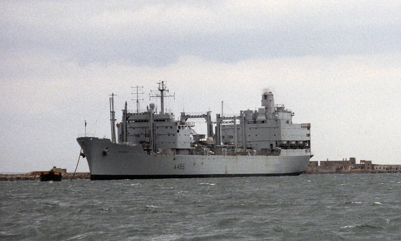 RFA Regent, Portland, 1990.  Sold to India for scrap 1993.