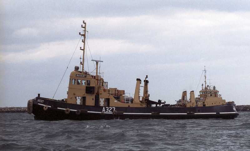 RMAS Bassett & Adept, Portland, 1990.  Tug Bassett was disposed of in the 1990s.