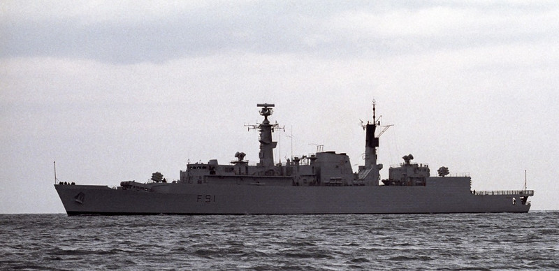 HMS Brazen, Portland, 1990 1.  Type 22 frigate completed in 1982 and sold to Brazil in 1994.