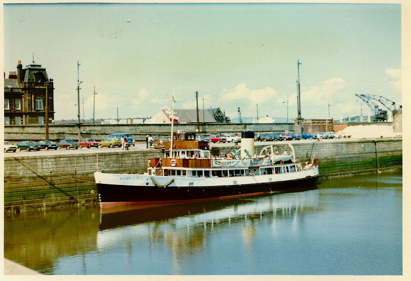 In 1978, Queen of Scots was purchased by BB Shipping (Dunoon) Ltd and, after another change of livery, commenced a programme of excursions to the Clyde Coast from a  berth in front of Govan Town Hall in the Princes Dock canting basin, where she is seen here on 28 May 1978