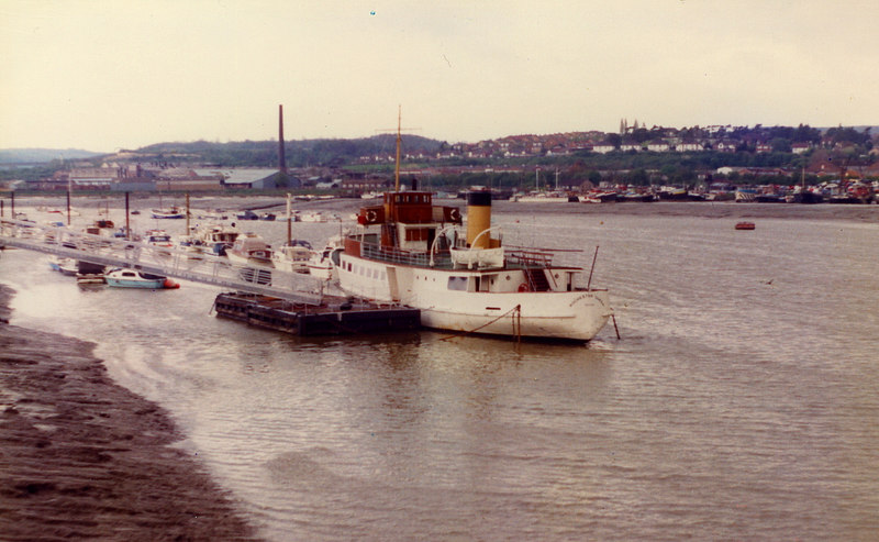A final encounter with the almost 50 year old motor vessel came in 1983 when she was serving as a restaurant ship at Rochester on the River Medway. By this time she had acquired her fourth name, Rochester Queen. 3 May 1983