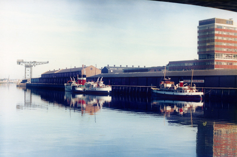 Waverley, preparing to go into Govan Graving Docks for extensive hull repairs, with Queen of Scots at Anderston Quay, Glasgow on 29 July 1977