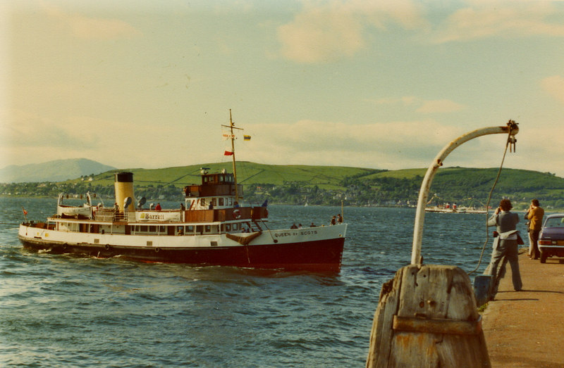 Queen of Scots arriving at the old railhead pier at Gourock (with Waverley in the background at Kilcreggan), 10 June 1978