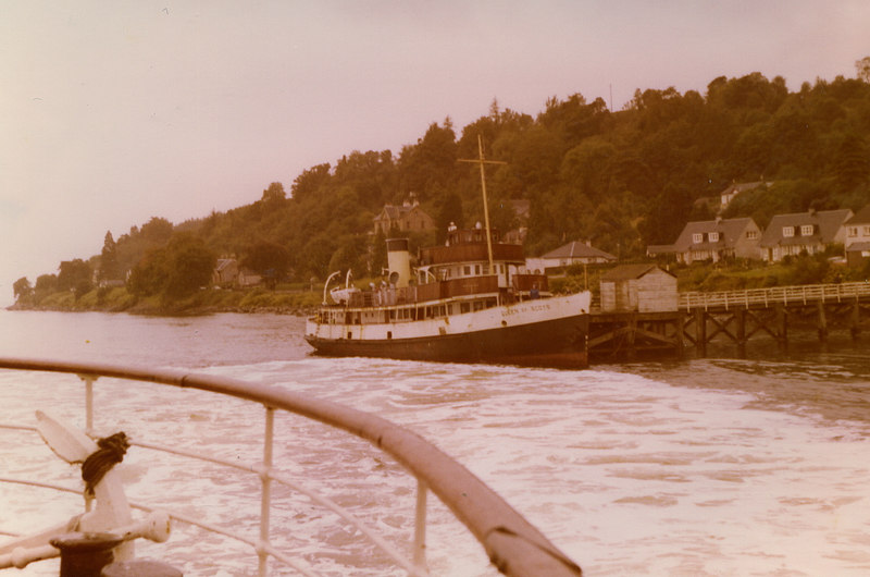 The BB Shipping venture was not a success and Queen of Scots ended her 6 years on the Clyde ignominiously; under arrest with a writ pinned to her mast as she lay at Blairmore pier. She is seen there in this view from her temporary fleetmate, Waverley, on 13 September 1980