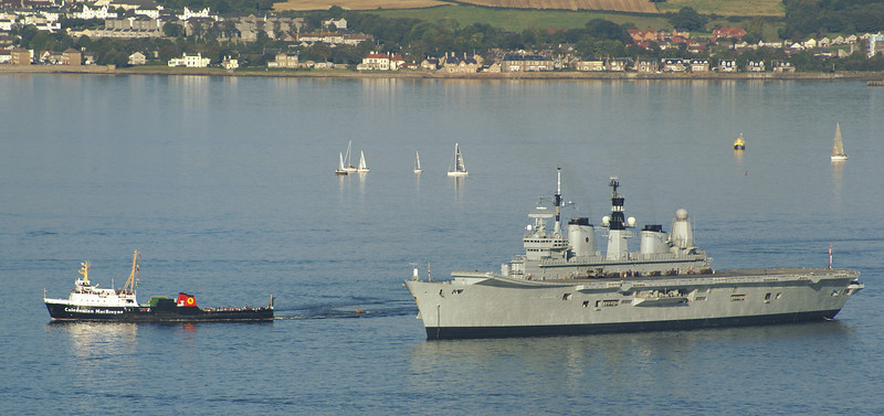 Saturn also took the opportunity to have a close look at the warships at anchor - passing Ark Royal.