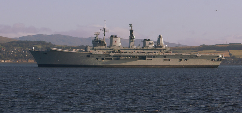 HMS Ark Royal anchored off Greenock on the morning of the QE2's visit