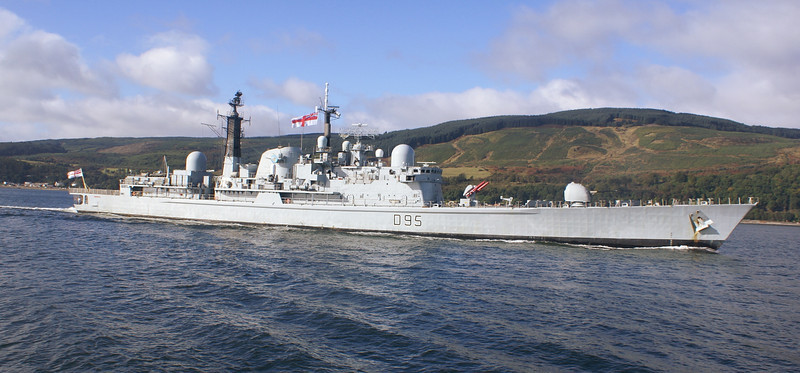 Balmoral's passengers were afforded an excellent view of HMS Manchester as she passed up the Cowal shore.