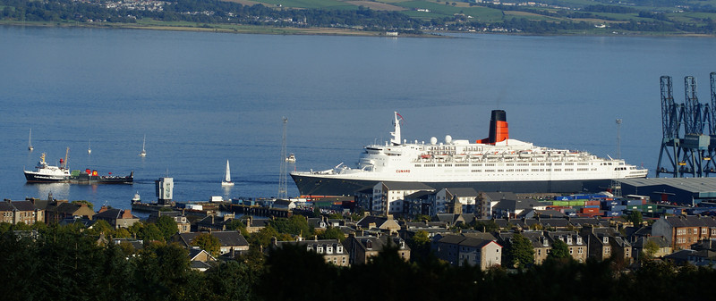 Caledonian MacBrayne's ferry Saturn on her last special sailing to view the Cunarder