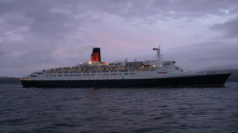 In the 'Gloaming' the liner has rounded Cloch Point and is now heading south, parallel to the Cowal shore<br /> <br /> Picture by Stuart Cameron