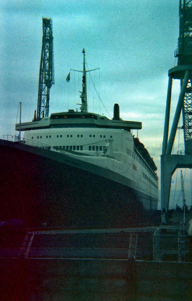 """QE2 in Inchgreen Drydock <br /> see an interesting film that depicts QE2's launch and early life here:<br /> <br />  <a href=""""http://www.youtube.com/watch?feature=player_embedded&v=0iY6WhaW-G0"""">http://www.youtube.com/watch?feature=player_embedded&v=0iY6WhaW-G0</a>#!<br /> Picture by Stuart Cameron"""