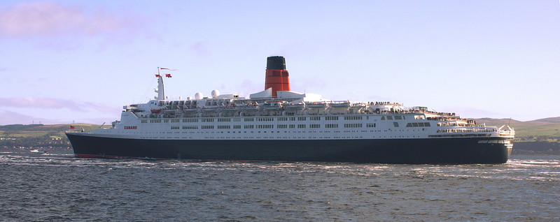 The mighty liner rounds Cloch Point . She is home - but sadly it will be her final return and passengers on Balmoral appreciated that 170 years of association between the River Clyde and the Cunard Company would soon  be over. It had beenin the city of Glasgow that Mr Cunard secured the additional investment capital and the engineering expertise of Robert Napier, both of which had been essential in ensuring the early success of his new steamship company.
