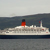 """RMS Queen Elizabeth 2 canting at the 'Tail of the Bank', the famous Clyde anchorage between Greenock and Helensburgh.<br /> <br /> Picture by Stuart Cameron<br /> <br /> Most of the 24,000 plus ships built on the River and Firth of Clyde had lain at this anchorage during  the period of their sea trials before being handed over to their owners. <br /> <br /> Detailed information of thousands of Clydebuilt ships can be obtained from the free-to-use Clydebuilt Ship Database at<br /> <br />  <a href=""""http://www.clydesite.co.uk/clydebuilt/search.asp"""">http://www.clydesite.co.uk/clydebuilt/search.asp</a><br /> <br /> The entry for QE2 can be viewed at<br /> <br />  <a href=""""http://www.clydesite.co.uk/clydebuilt/viewship.asp?id=553"""">http://www.clydesite.co.uk/clydebuilt/viewship.asp?id=553</a>"""