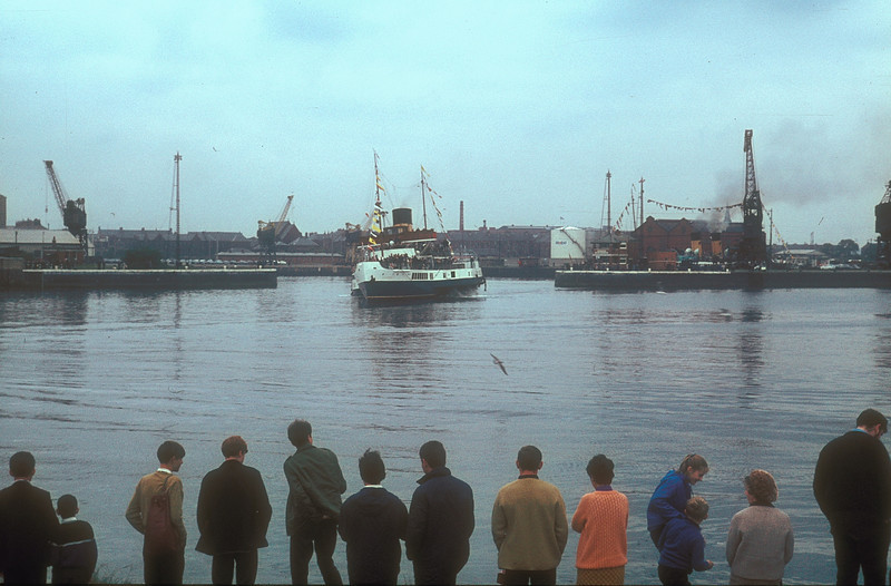 PS Caledonia canting at the entrance of Rothesay Dock.<br /> <br /> Picture by the late Mr William Davies