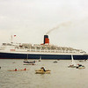 QE2's depating  from Greenock Ocean Terminal after her second return  visit. <br /> <br /> Picture by Tom Dunlop