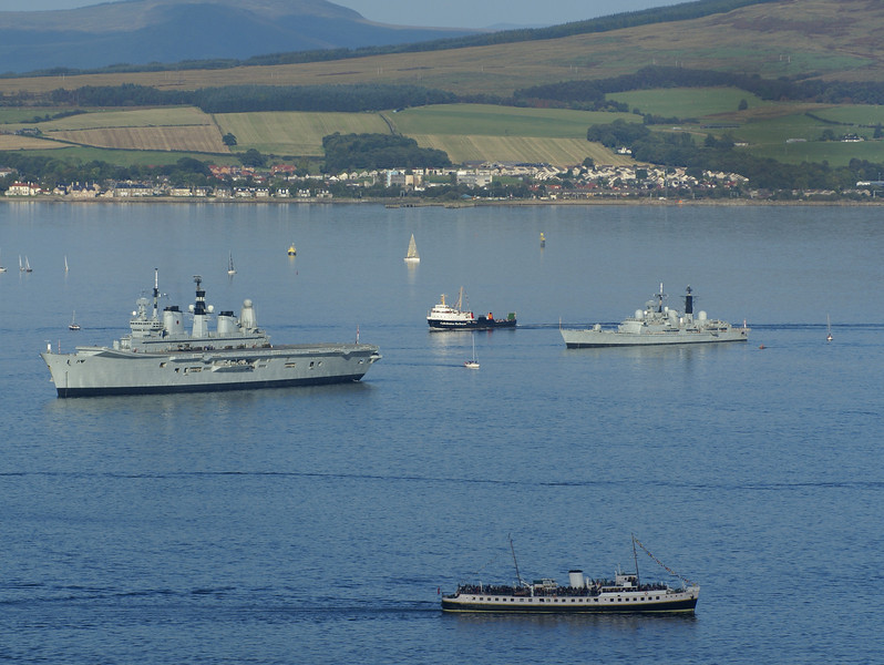 Surely an unique combination of vessels never to be repeated - Ark Royal, Saturn, Manchester and Balmoral.