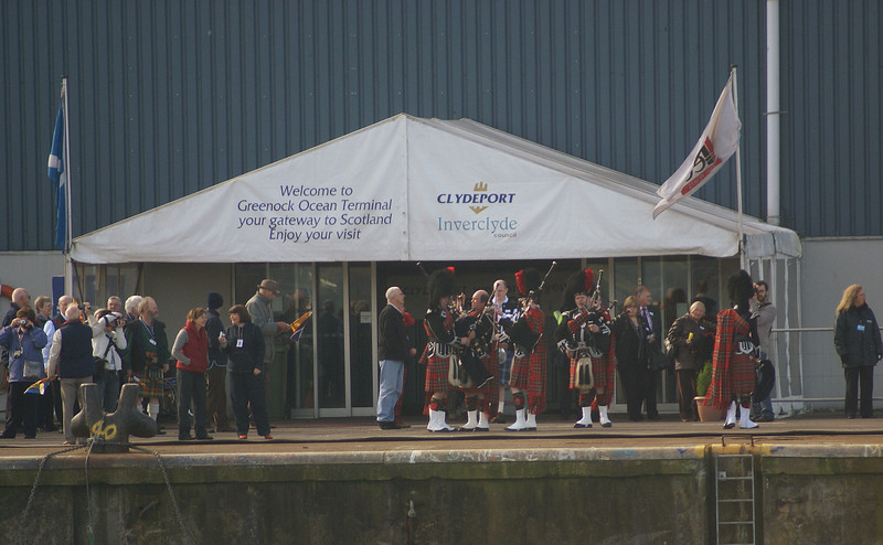 The Welcoming Party prepare to greet the liner as she arrives