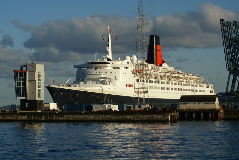 QE2 towering over Greenock Ocean Terminal - it had been the old Glasgow & South Western Railway Princes Pier railhead / steamer pier when the liner was under construction at Clydebank.