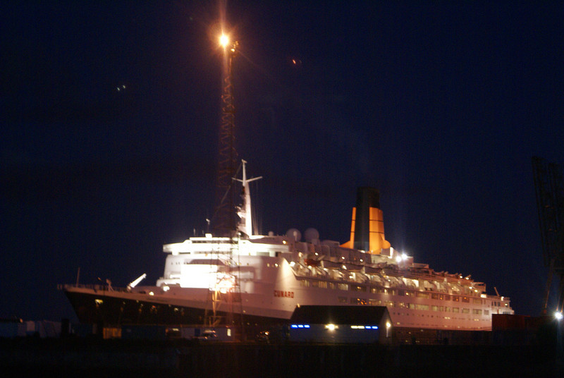 Queen Elizabeth 2 did not depart Greenock until 10pm - for the first time we saw her in her nightime guise