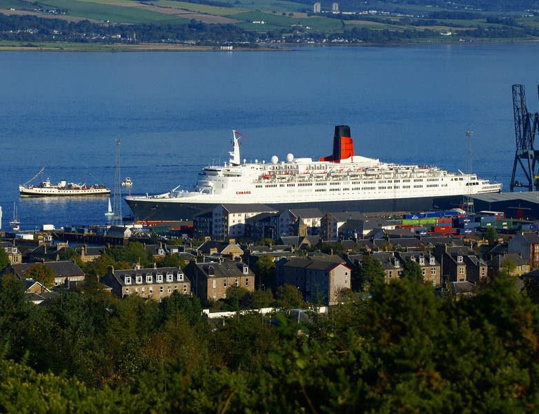 Balmoral on the first of two special sailings from Glasgow and Greenock to view the liner and (on the second sailing) to escort her on her final departure from the Clyde. <br /> From 1967 to 1986 Balmoral and QE2 shared the same port of registration (Southampton). In 1985 Balmoral's registry was switched to Bristol.