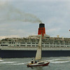 QE2 heading down firth<br /> <br /> Picture by Stuart Cameron