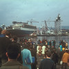 Queen Elizabeth 2 going alongside the fitting out quay where she was completed through the remainder of 1967, 1968 and 1969.<br /> <br /> Picture by the late Mr William Davies
