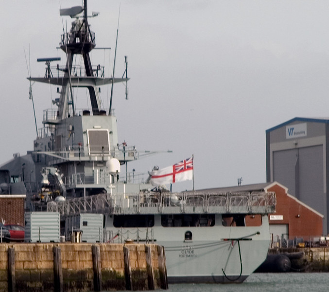 HMS Clyde, Portsmouth, 5 March 2007.  Modified River class patrol ship built at Portsmouth by Vosper Thornycroft and leased by the RN for service in the Falklands.