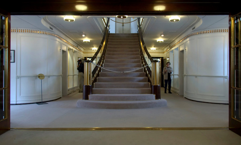 Grand staircase, Britannia, Leith, 14 October 2007   Looking up towards the shelter deck where the royal bedrooms are located.
