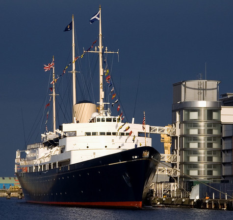 Britannia, Leith, 14 October 2007    Britannia served Queen Elizabeth II as Royal Yacht for 44 years, 1954 - 1997.  Built in Scotland, on Clydebank, she is now preserved in Scotland at Leith, near Edinburgh.