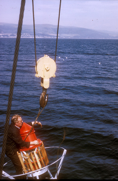 Photo by the late Mr William Davies<br /> <br /> Detaching the buoy from Torch's derrick
