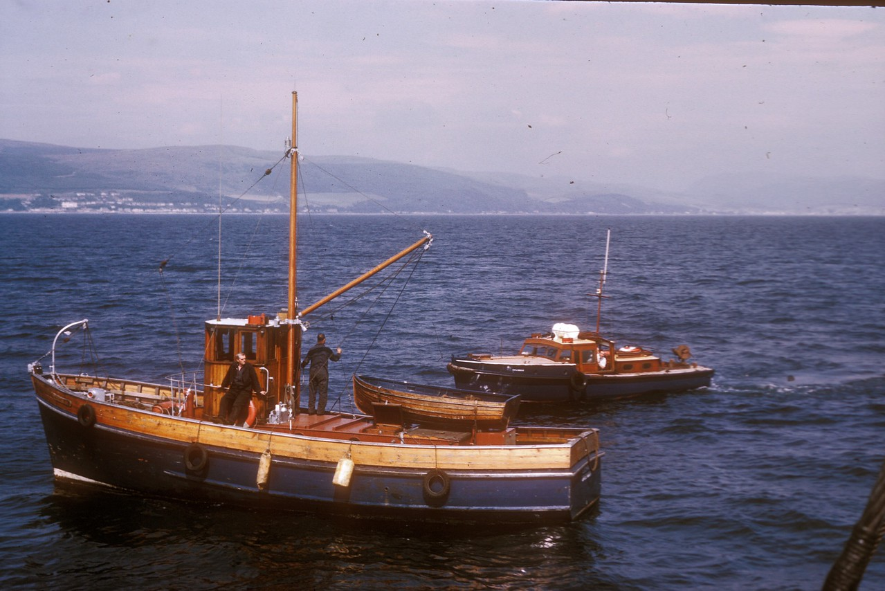 Photo by the late Mr William Davies<br /> <br /> The nearest vessel is the CPA's tender Lochran - the other vessel is unidentified but not thought to be CPA owned