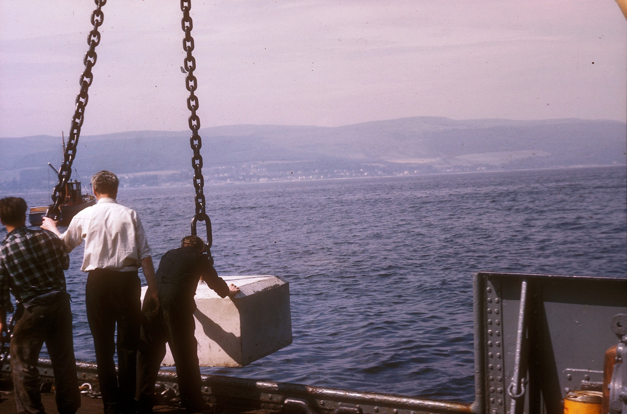 Photo by the late Mr William Davies<br /> <br /> Laying the buoy anchor