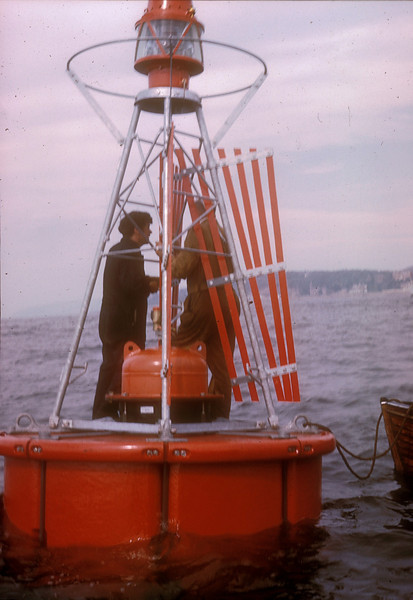 Photo by the late Mr William Davies<br /> <br /> Fitting the radar refectors