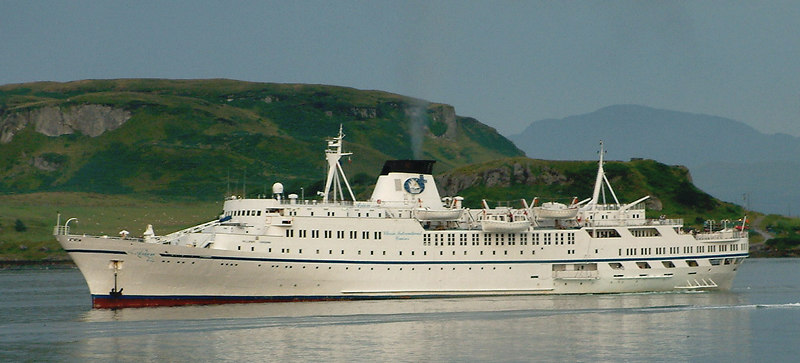 The Madeira-registered cruise ship Arion anchored in Oban Bay for a day visit