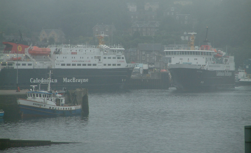 Foggy morning in Oban - SEPA's survey ship Endrick II at the North Pier - she has originally been built for the former Clyde River Purification Board