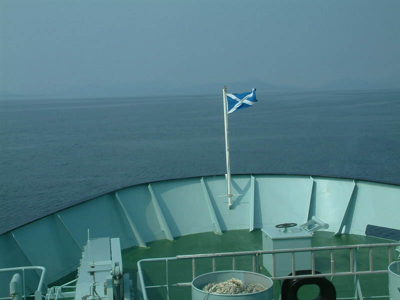 View ahead from Hebrides as she crossed the Little Minch - the hills of Harris appearing through the mist
